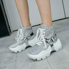 Women Fashion Sequin Metal Decor  Lace Up Platform Combat Ankle Boots Shoes