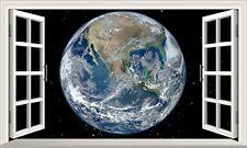 Planet Earth 3D Magic Window Wall Art Self Adhesive Sticker Wall Paper V2*