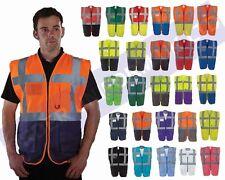 Hola Vis Viz Chaleco De Seguridad Chaleco Cremallera visibilidad ejecutiva Teléfono & ID de bolsillo