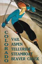 Ski Colorado Vail Aspen Beaver Creek Skiing Sport Vintage Poster Repro FREE S/H