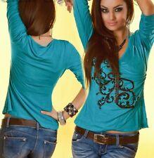 Damen MiSS V Shirt Wickel Look Top Tribal Print schwarz gold S/M 34/36 M/L 36/38