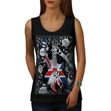 Bandera de Guitarra Bass Reino Unido mujeres Camiseta sin mangas Rosa Nuevo | wellcoda