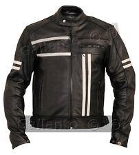 Cafe Racer Negro Crema Rayas crucero acorazado Biker moto chaqueta de cuero