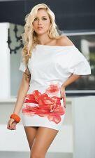 Espiral White Off The Shoulder Hibiscus Flower Mini Dress 4739