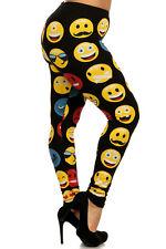 EMOJI HAPPY ANGRY faces Emoticon leggings Cotton Juniors PLUS 1X 2X 3X