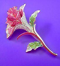 Crystal Rose Flower  Brooch Bride Bridegro Valentines'  mother'day  Anniversary'