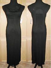 Jessica Simpson Mollie Black Draped Open Back Jersey Maxi Dress w/Mesh Inset $64