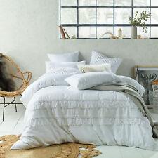 Tassel WHITE Linen Cotton Quilt Duvet Cover Set - DOUBLE QUEEN KING Super King