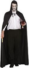 MENS LADIES LONG BLACK CAPE HOODED CLOAK DRACULA HALLOWEEN FANCY DRESS COSTUME