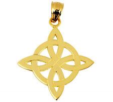 10k 14k Solid Yellow Gold Irish Trinity Celtic Charm Pendant
