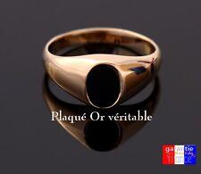 Bague Chevalière Vrai Plaqué Or Avec dessus oval noir pour homme femme neuve