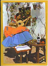 Embroidered Postcard Spanish Woman Guitar Music