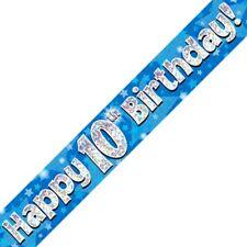 Azul Happy 10 Cumpleaños METALIZADO Letrero De Fiesta Decoración Estrellas