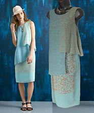 MONSOON Azul Huevo De Pato Dorado Blanco Lucy en capas de Seda Vestido Midi Talla UK12 £ 149