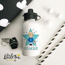 Personalised Kids Drinks Water Bottle Blonde Footballer school lunch flask kids