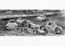 Autograss Stock Car Racing ART PRINT del disegno originale Motorsport russellart