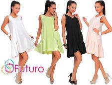 Womens Asymmetric Oversized Frilled Dress Sleeveless Tunic One Size 8-14 FT2023