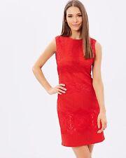 Womens Karen Millen Lace pencil Dress Red Embroidery Shift UK Size12 14 EU 40 42