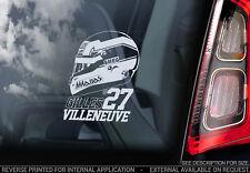 Gilles Villeneuve - Car Window Sticker - Formula 1 F1 Decal Ferrari Helmet - V02