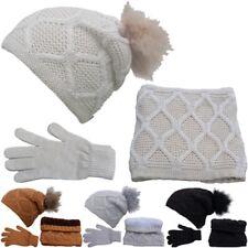3teiliges Winterset Mützenset Schalset Strickmütze Pudel Loopschal Handschuhe 20