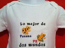 Lo Mejor de dos Mundos. Panama y Puerto Rico Baby Bodysuit Embroidered