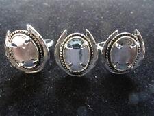 Horseshoe Adjustabale Ring Silver color 10x14mm mount -4 Pronged (Pkg 3) 284