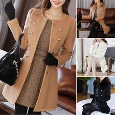 Women Winter Warm Wool Coat Jacket Overcoat Outwear Long Slim Fit Tops