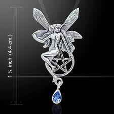 Fairy & Pentagram Gem & Sterling Silver dangle Pendant Peter Stone Fine Jewelry