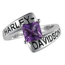 Harley-Davidson Silver Crossroads Birthstone Ring - February Amethyst - NEW