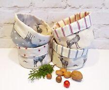 Handmade woodland fabric storage bread basket - Linen blend Highland Stag stripe