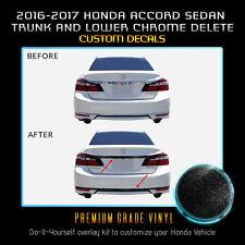 Trunk 2Pcs Chrome Delete Overlay For 2016-2017 Honda Accord Sedan - Glossy Matte