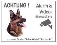 Schäferhund-Hund-Alu-Schild-0,5-3mm dick-Türschild-Alarm-Video-Warnschild-TOP