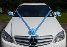 BLUE Wedding Car Decoration Kit Large Bows & 7m Ribbon FAST & FREEPOST
