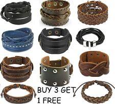 New Mens Leather Wristbands Adjustable Brown Black Choose Design Cuff UK SELLER