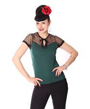 SugarShock Shinta 50s retro Polka Dots Rockabilly Keyhole Shirt mit Tülleinsatz