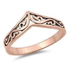 Plated Chevron V Filigree Fashion Ring .925 Sterling Silver Women's Rose Gold