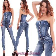 Overall donna tutina intera bandeau skinny elasticizzata bottoni sexy nuova H559