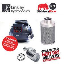 "4"" / 100mm Rhino Thermostatic Fan & Rhino Pro Carbon Filter Ducting Hydroponics"