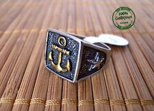 Anello Ancora Unisex Vintage Nero color Argento Oro Ultima Moda Grande Effetto