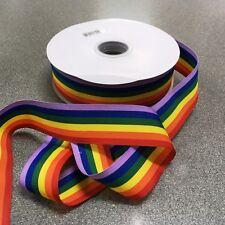 Rainbow Gay Pride Ribbon Quality Cut Length Grosgrain 10mm 25mm 38mm  - NEW