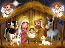 Cartoon Design Jesus Nativity Manger 10x8FT Vinyl Studio Backdrop Background LB