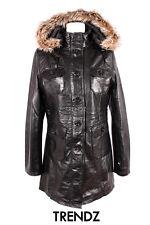 Ladies MOSCOW BLACK Hooded Fur Bomber Real Lambskin Designer Leather Coat