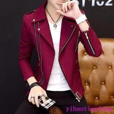 Korean Fall Fashion Men Jacket Zipper Lapel Slim Fit Casual Coat Outdoor Party