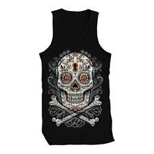 Sugar Skull Day Of The Dead Holiday Tattoos Henna Zombie  Mens Tank Top