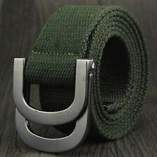 Men Women Canvas Belt Webbing D Ring Buckle Woven Military Army Waistband Combat