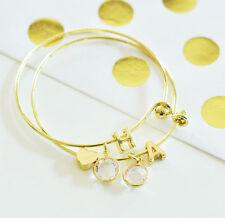 Gold Monogram Bracelets Bridal Party Bridesmaid Wedding Gifts
