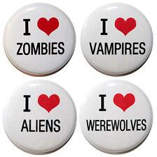 """""""I Love Zombies, Vampires, Aliens & Werewolves"""" Fridge Magnet Set - 25mm"""