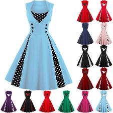 UK Plus Size Womens Girls Vintage Evening Party Rockabilly 50s Swing Retro Dress