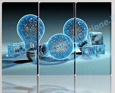 QUADRO MODERNO TELA ARREDO CASA  DESIGN LAMPADINE GHIACCIO CRYSTAL ICE B