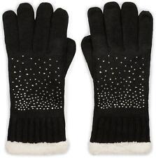warme Handschuhe mit Strass und Fleece Innenfutter Winter Strickhandschuhe Damen